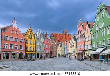 Old town Landshut by Munich, Bavaria, Germany - stock photo