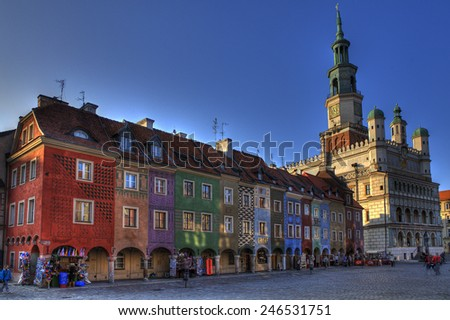 old town market in poznan  - stock photo