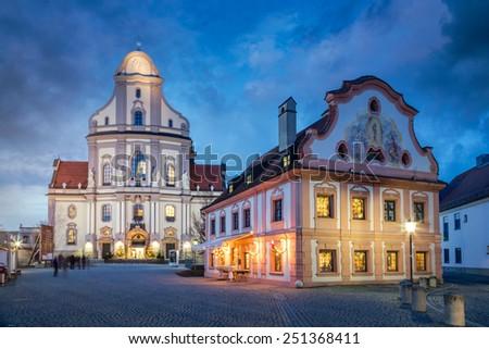 Old town of Altoetting with Basilika St. Anna at night, Bavaria, Germany - stock photo