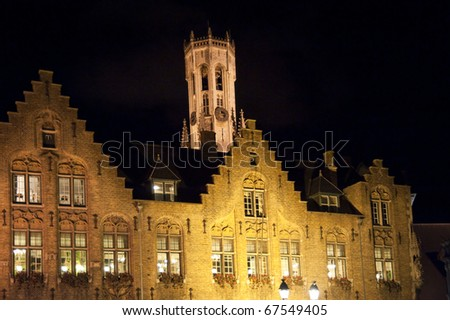 old town of bruges, belgium, by night - stock photo