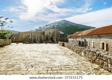 Old town of Budva in Montenegro in sunny day at summertime.
