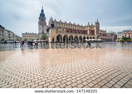Old town of Cracow with Sukiennice landmark, Poland - stock photo