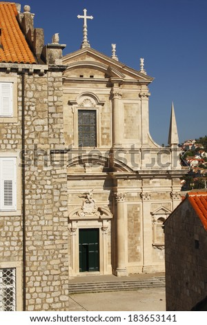 Old town of Dubrovnik in Croatia in Eastern Europe. - stock photo