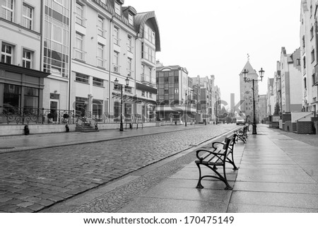 Old town of Elblag in black and white, Poland - stock photo