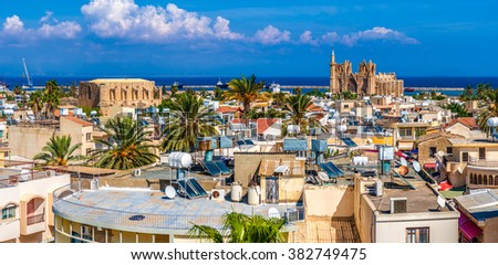 Old town of Famagusta (Gazimagusa), panoramic view. Cyprus. - stock photo