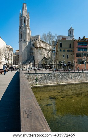 Old Town of Girona, Spain - stock photo