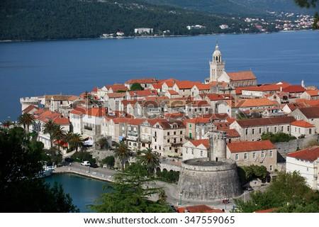 Old Town of Korcula, Korcula Island, Croatia. Aerial helicopter shoot of Korcula old town. Dubrovnik archipelago - Elaphites islands - stock photo