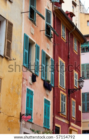 old town of Nizza. multicolored fronts of houses
