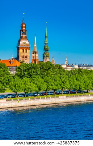 Old Town of Riga and Daugava River, Riga Cathedral, Saint Peters Church and other spiers. Riga, Latvia - stock photo