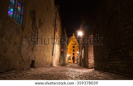 Old town of Tallinn at night, Vaimu street view - stock photo
