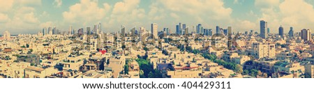 Old town of Tel Aviv (Israel). Toned colors.Vintage photo - stock photo