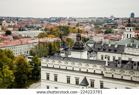 Old Town of Vilnius as seen from Gediminas tower, Lithuania