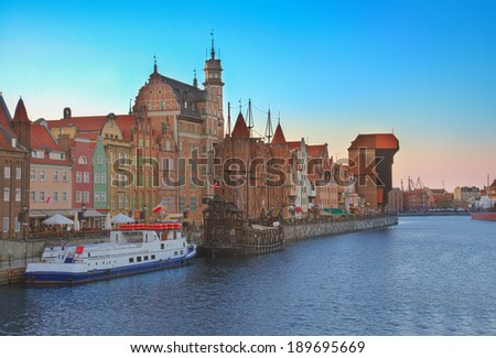 Old town over water of  river Motlawa at night, Gdansk ,  Poland. HDR - stock photo
