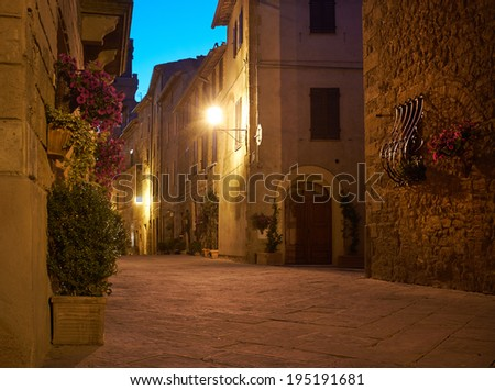 Old Town Pienza, Tuscany. night scene