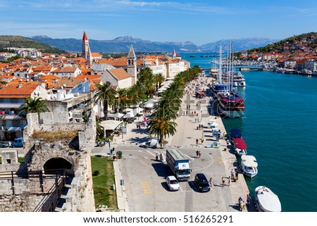 Old town promenade of TROGIR seen from Kamerlengo Castle (UNESCO World Heritage List since 1997), TROGIR, CROATIA on 23 SEPTEMBER 2016
