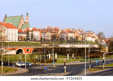 Old Town skyline with street junction in the foreground in the city of Warsaw, Poland - stock photo