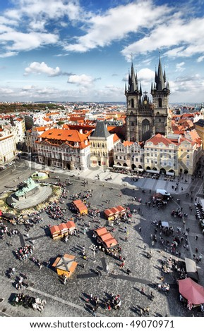Old town square and Church of Virgin Maria Before Tyn, Prague, Czech republic - stock photo