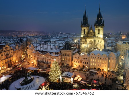 Old town square in Prague at Christmass time. Night. - stock photo
