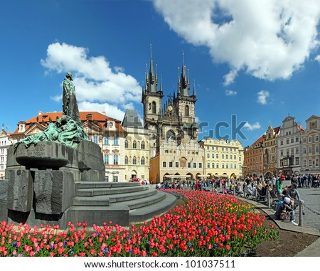 Old town square in Prague, Tyn Cathedral of the Virgin Mary and monument of Jan Hus. Czech Republic, World Heritage Site by UNESCO - stock photo