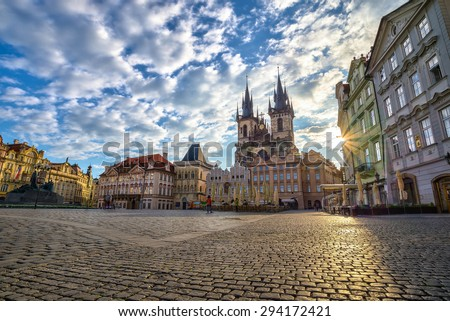Old town square in the morning - Prague - Czech - stock photo