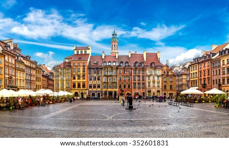 Old town square in Warsaw in a summer day, Poland - stock photo