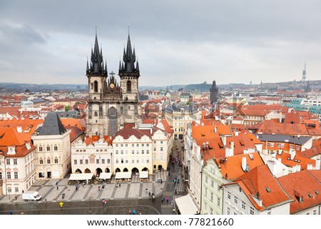 Old town square seen from the tower of the old Town Hall, Prague Czech Republic 2010 - stock photo