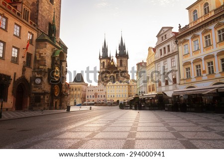 Old town square with  Tyn cathedral church  Prague, Czech Republic - stock photo
