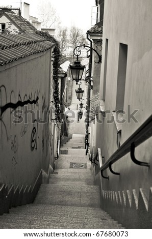 Old Town Stairs in Warsaw - capital city of Poland - stock photo