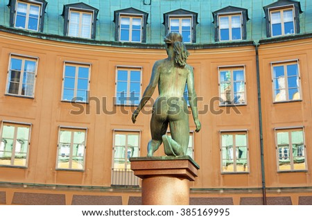 "OLD TOWN STOCKHOLM SWEDEN August 15, 2015. Statue ""Morning"" on Brantingtorget in the administration building. (Kanslihusannexet in Old Town)."