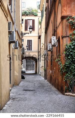Old town street and Mediterranean architecture in Rome, Italy - stock photo