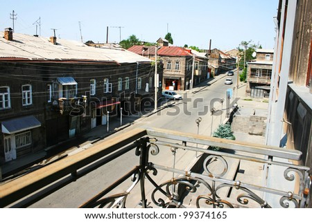 Old town street in Gyumri, Armenia.