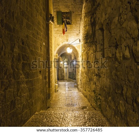 Old town streets at night. Jerusalem, Israel.