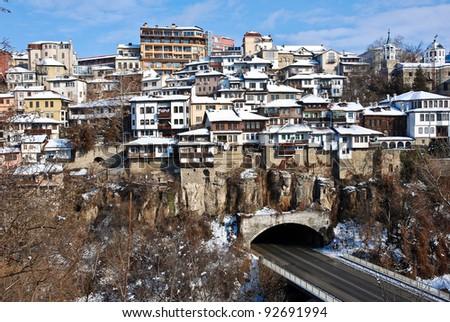 Old Town Veliko Tarnovo above the Yantra river - stock photo