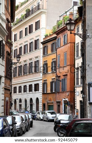 Old town view and Mediterranean architecture in Parione district of Rome, Italy - stock photo