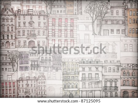 old town wallpaper - stock photo
