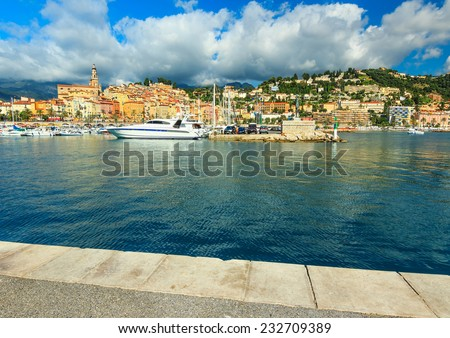 Old town with colorful houses and famous port,Menton,France,Europe - stock photo