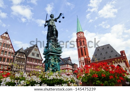 old town with the Justitia statue in Frankfurt, Germany - stock photo