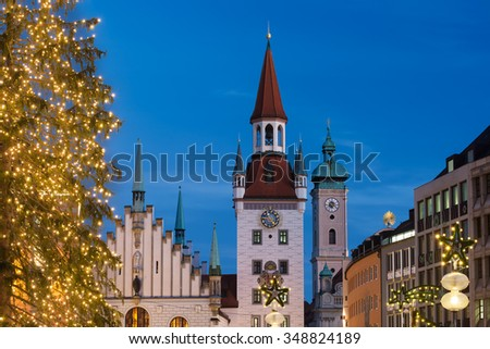 Old Townhall at Marienplatz (Mary's Square) in Munich at night with illuminated Christmas Tree, Bavaria, Germany - stock photo