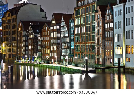 old townhouses at the canal in Hamburg by night