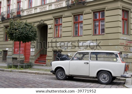 Old Trabant in East Berlin - stock photo