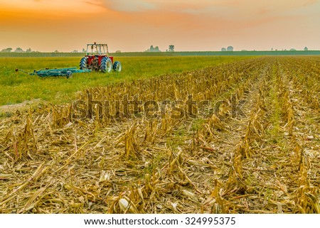 old tractor and trailer next to a land where maize was harvested - stock photo