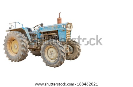 Old Tractor isolated - stock photo