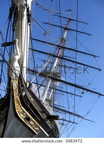 Old trading ship (removed name version) - stock photo