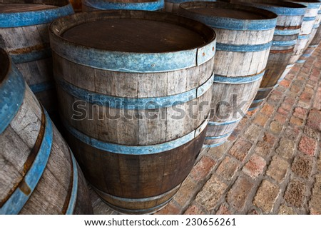 old traditional beverage barrels