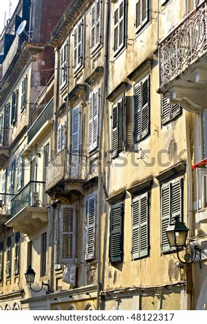 Old traditional buildings at medieval city of Corfu, Greece