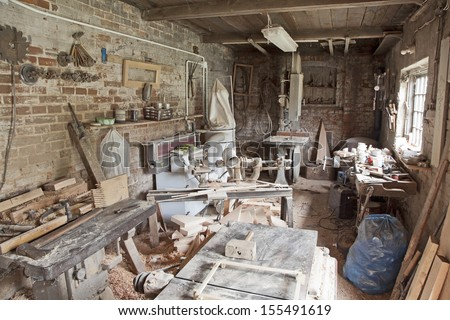 Old traditional carpenter's workshop with its wealth of tools and wood