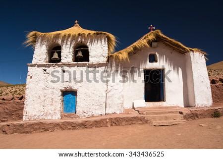 Old traditional church, San Pedro de Atacama, Atacama, Altiplano, Chile - stock photo