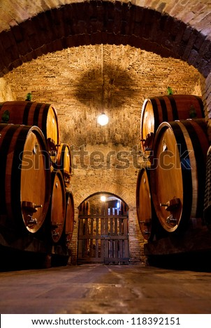 Old traditional dark wine cellar with big wooden barrels