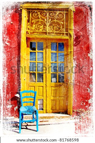 old traditional greek doors - artwork in painting style - stock photo
