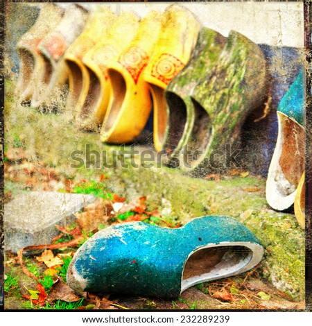old traditional holland shoes - vintage picture - stock photo